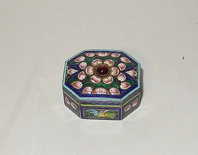 Small Chinese Gold Gilt Silver Cloisonne Repousse Enamel Lion Design Jar Box