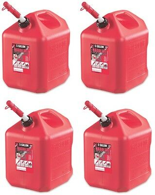 (4) ea Midwest 5600 5 Gallon Red Poly Gas Gasoline Fuel Cans w Spill Proof Spout
