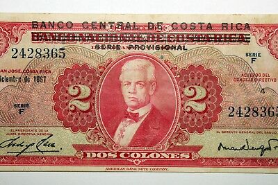 Free Shipping: Dos Colones Bank of Central Costa Rica Bank Note - XF (NUM2043)