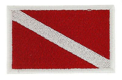 AUFNÄHER Patch Taucherflagge DIVING DIVER Aufbügler FLAGGE flagge Fahne backpack