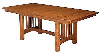 Amish Mission Craftsman Trestle Dining Table Solid Wood Oak Cherry Maple