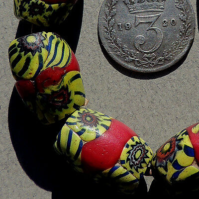 6 old antique venetian oval millefiori african trade beads #1313