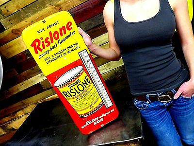 VINTAGE RISLONE THERMOMETER IN Working CONDITION Gas Oil Sign Advertising