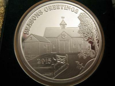 1-Oz.christmas Farm With John Deere Tractor  .999  Silver Engravabel Coin +Gold