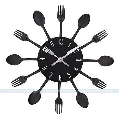 Modern Cutlery Retro Wall Clock Fork & Spoon Kitchen Decoration New