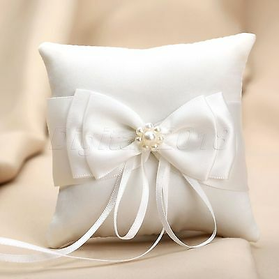 Romantic Wedding Decor White Bow Ribbon Pearls Ring Pillow Cushion Accessories