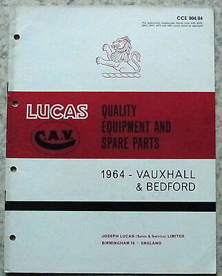 LUCAS VAUXHALL & BEDFORD Spare Parts List 1964 #904/64 VICTOR Velox CRESTA +++