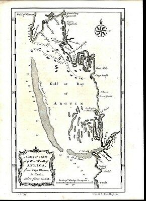 Bay of Arguin West Africa Mauritania Coast 1745 antique engraved map