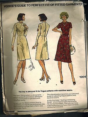 1004 Vogue Vintage Sewing Pattern Misses Personal Fit Fitting Shell