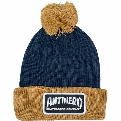 Anti Hero SKATE CO PATCH POM Skateboard Beanie NAVY/BROWN