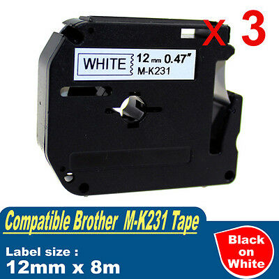 3x Compatible P-Touch Label Tape for Brother M-K231 Black on White PT-70 PT-90