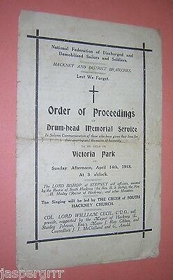 Ww1. 1918 Drum-Head Memorial Service. Order Of Proceedings. Hackney. London