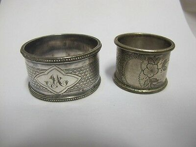 Antique Silver Plated Lot Of 2 Napkin Rings Contintal C 1920