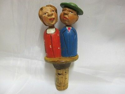 Rare Novelty Antique Mechanical Bottle Stopper Two Figures Carved Wood C 1920