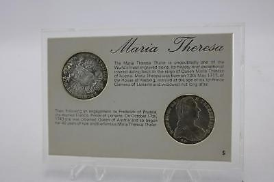 1780 Maria Theresa Thaler Restrike Silver Coin Twin Set Cased