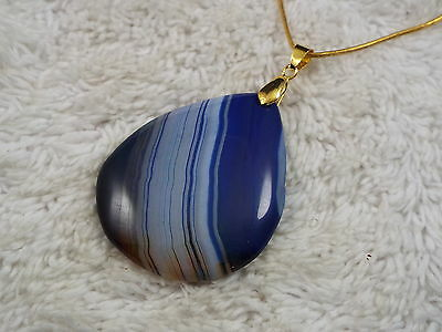 Goldtone Blue Striped Onyx Agate Stone Necklace (B7)