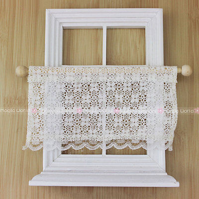 Half Lace Curtain with Rail for Kitchen Windows Dollhouse Miniatures 1:12 White