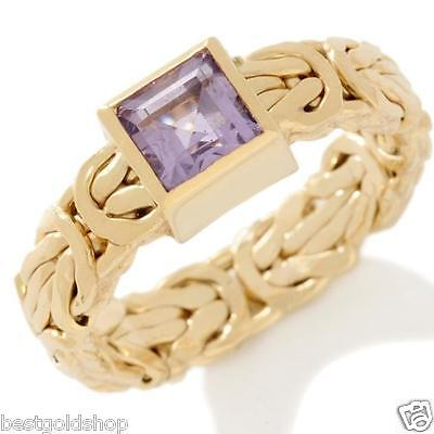 Technibond Square Amethyst Byzantine Band Ring 14K Yellow Gold Clad Silver HSN
