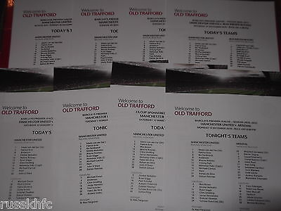 2010/11 Manchester United Home Colour Team Sheet Choose From