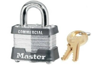 "(12) ea Master Lock 3KA-3447 1-1/2"" Laminated Keyed Alike Padlock w 3/4"" Shackle"