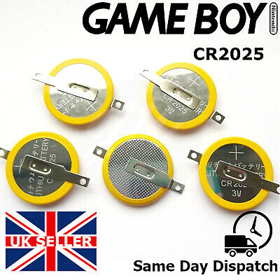 ✨ 5 x Tabbed CR2025 Game Boy Cartridge Battery - Pokemon Red Blue Gold Silver ✨