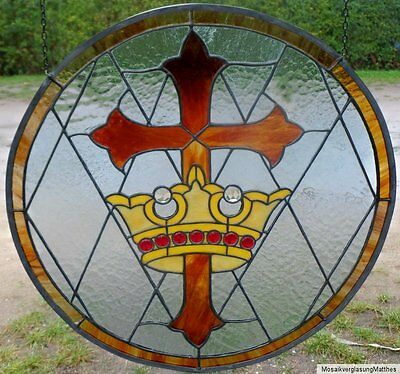Leaded glass, Lead Window image, Cross and Crown, in Tiffany - Engineering