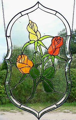 Stained Glass, Leaded Glass, Window Screen, Rose Medallion In Tiffany Technology