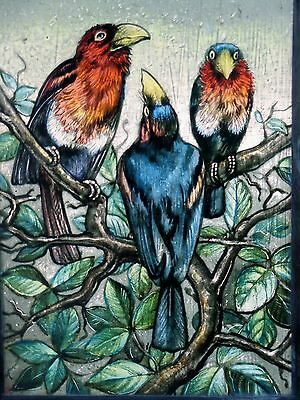 """Leaded glass Window image Art nouveau Stained glass Etching """"bird consulting"""""""