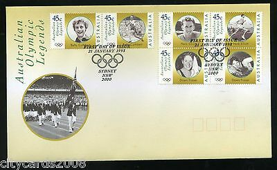 1998 AUSTRALIA  Olympic Legends set of 2 First Day covers