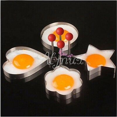 4 Kind Shaped Cooking Fried Egg Pancake Ring Mold Shaper Kitchen Stainless Steel