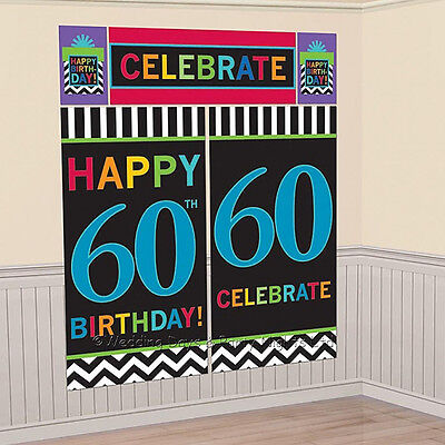 6ft Happy 60th Birthday Scene Setter Wall Decoration Kit Party Banner Photo Prop