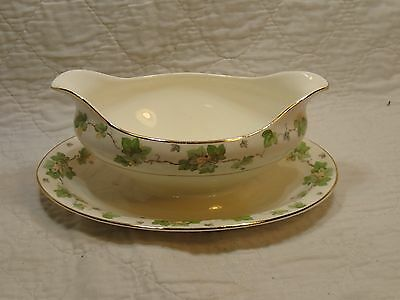 Vintage Pope Gosser AMERICAN IVY Gravy Boat with Attached Underplate