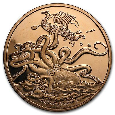 20-1 Oz Copper Coins *kraken* Pirate Viking Norse Coin Anonymous Mint Owl 1-100