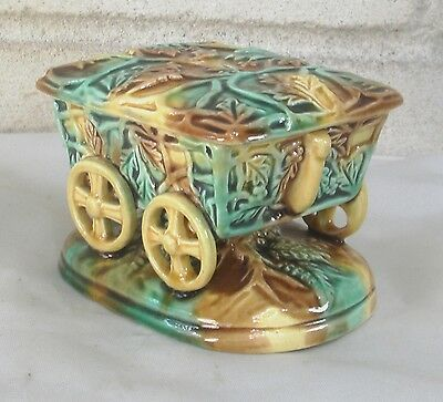 Rare Beautiful Antique Majolica Covered Wagon Figural Match Safe Striker