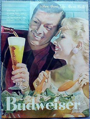 1957 Budweiser Beer Couple Wooden Salad Bowl Next Time Life Theres Bud ad