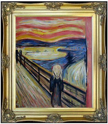 Framed Edvard Munch the Scream Repro, 100% Hand Painted Oil Painting 20x24in