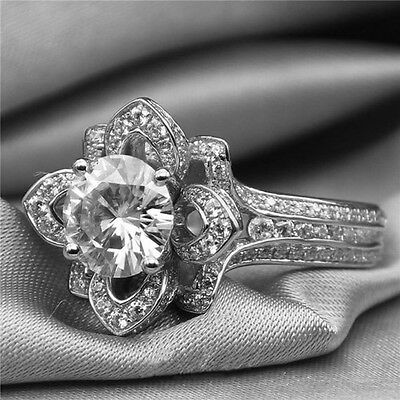 Simulated Diamond 14k White Gold Plated 925 Sterling Lotus Engagement Ring