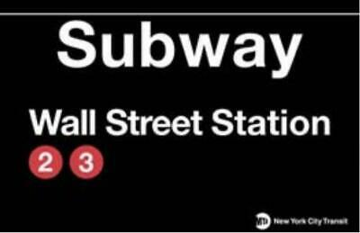 New York Subway U Bahn Station Strassenschild WALL STREET,Street Sign,43cm