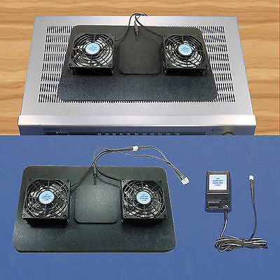 AV Receiver Airchamber Base cooling fans with thermoswitch & mult-speed control