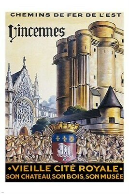 VINCENNES by train VINTAGE TRAVEL POSTER french gothic EXCEPTIONAL 24X36 hot