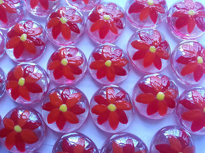 GLASS GEMS HP HAND PAINTED PARTY FAVORS  christmas poinsetta poinsettas