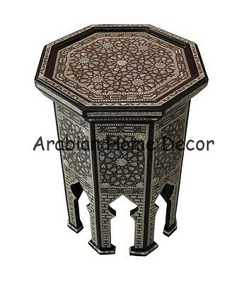 """Handcrafted Egyptian Moroccan 24"""" Mother of Pearl Inlay Wood Coffee Side Table"""
