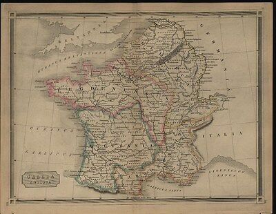 France Pyrennes Mountains Gaul c.1830 antique engraved hand color map