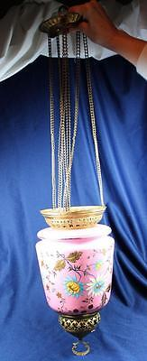 Victorian Opaque Pink Heavily Enameled  Art Glass Hanging Hall/ Candle Lamp