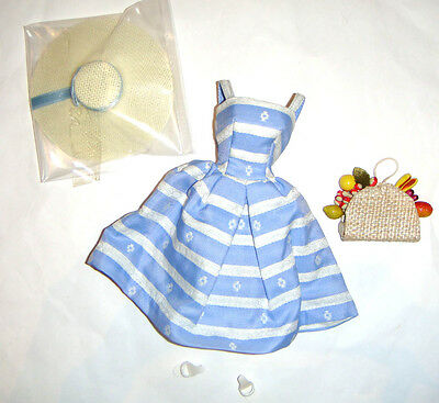 Barbie Fashion Blue & White Striped Sundress For Barbie Dolls Repro fn971
