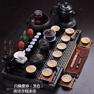 Chinese kung fu tea set complete yixing tea pot cup wood table electrical kettle