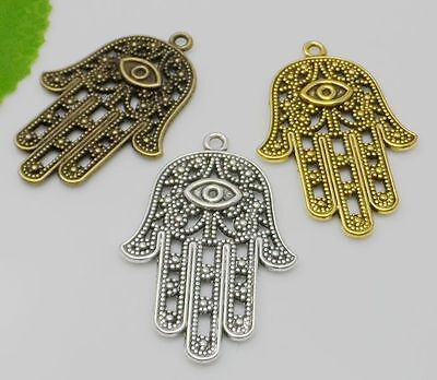 50pcs Antique Silver Alloy Hamsa Hand Charms Pendants for Jewelry Making 42x28mm