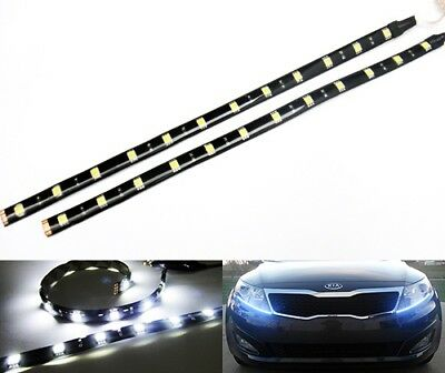 2x White 12 High Power SMD LED Flexible Daytime Running Light Strip Fog DRL 30cm