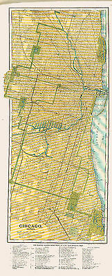 1902 Very Large Street Level Detailed Color Map of CHICAGO- Buildings Identified