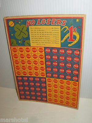 W.h. Brady Vintage No Losers Punchboard Game 1¢ Punch Board Full Card Unused